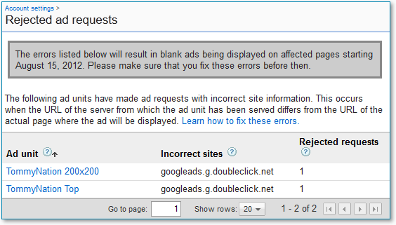 AdSense Rejected Ad Requests Details Page Example from TommyNation.com