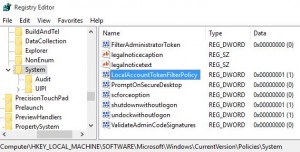 regedit policy administrativ shares windows 10